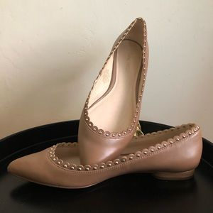 NineWest studded scalloped pointy nude flat